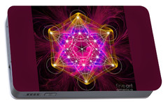 Portable Battery Charger featuring the digital art Metatron's Cube With Flower Of Life by Alexa Szlavics