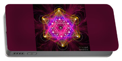 Metatron's Cube With Flower Of Life Portable Battery Charger by Alexa Szlavics
