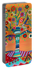 Portable Battery Charger featuring the painting Mhuri by Pristine Cartera Turkus
