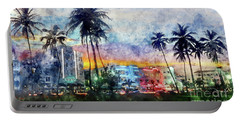 Miami Beach Watercolor Portable Battery Charger