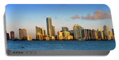Miami Skyline In Morning Daytime Panorama Portable Battery Charger