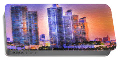Portable Battery Charger featuring the photograph Miami Skyline Sunrise by Shelley Neff