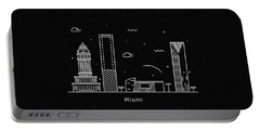 Miami Skyline Travel Poster Portable Battery Charger