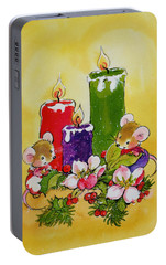 Mice With Candles Portable Battery Charger by Diane Matthes