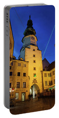 Michael Gate And Tower At Night In Bratislava Portable Battery Charger