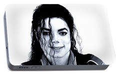 Portable Battery Charger featuring the drawing Michael Jackson Pencil Drawing  by Movie Poster Prints