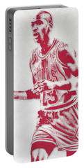 Michael Jordan Chicago Bulls Pixel Art 2 Portable Battery Charger