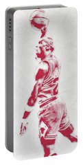 Michael Jordan Chicago Bulls Pixel Art 3 Portable Battery Charger