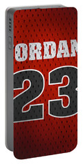 Michael Jordan Chicago Bulls Retro Vintage Jersey Closeup Graphic Design Portable Battery Charger