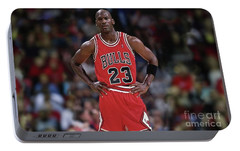 Michael Jordan, Number 23, Chicago Bulls Portable Battery Charger by Thomas Pollart