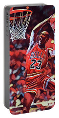 Portable Battery Charger featuring the painting Michael Jordan Slam Dunk by Dan Sproul