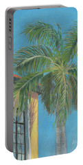 Portable Battery Charger featuring the painting Michaels Palm by Arlene Crafton