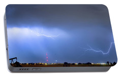 Portable Battery Charger featuring the photograph Michelangelo Lightning Strikes Oil by James BO Insogna