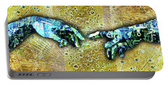 Portable Battery Charger featuring the mixed media Michelangelo's Creation Of Man by Tony Rubino