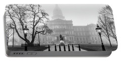 Michigan Capitol Foggy Morning 2 Portable Battery Charger