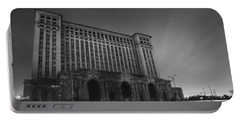 Michigan Central Station At Midnight Portable Battery Charger by Gordon Dean II
