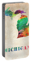 Michigan Colorful Watercolor Map Portable Battery Charger