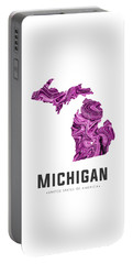 Michigan Map Art Abstract In Purple Portable Battery Charger