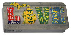Michigan State Love Heart License Plates Art Phrase Portable Battery Charger