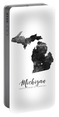 Michigan State Map Art - Grunge Silhouette Portable Battery Charger