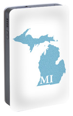 Michigan State Map With Text Of Constitution Portable Battery Charger by Design Turnpike