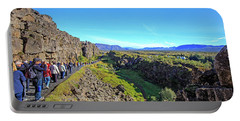 Mid-atlantic Rise In Thingvellir, Portable Battery Charger by Allan Levin
