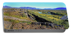 Mid-atlantic Rise In Thingvellir, Iceland Portable Battery Charger by Allan Levin