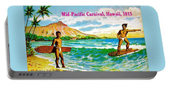 Portable Battery Charger featuring the painting Mid Pacific Carnival Hawaii Surfing 1915 by Peter Gumaer Ogden