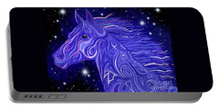 Portable Battery Charger featuring the drawing Midnight Blue Mustang by Nick Gustafson