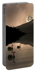 Midnight Moods Swan Lake In The Moonlight Portable Battery Charger by Diane Schuster