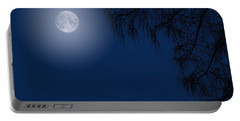 Midnight Moon And Night Tree Silhouette Portable Battery Charger