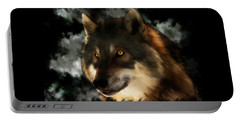 Midnight Stare - Wolf Digital Painting Portable Battery Charger