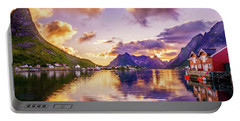 Midnight Sun Reflections In Reine Portable Battery Charger