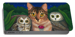Portable Battery Charger featuring the painting Midnight Watching - Abyssinian Cat Saw Whet Owls by Carrie Hawks