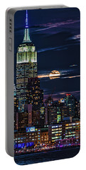 Portable Battery Charger featuring the photograph Midtown Supermoonrise by Chris Lord