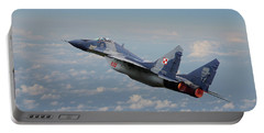 Portable Battery Charger featuring the digital art Mig 29 - Polish Fulcrum Dedication by Pat Speirs