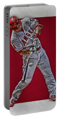 Portable Battery Charger featuring the mixed media Mike Trout Los Angeles Angels Art 2 by Joe Hamilton