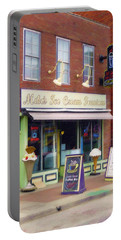 Portable Battery Charger featuring the painting Mike's Ice Cream Fountain by Sandy MacGowan