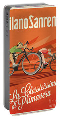 Portable Battery Charger featuring the digital art Milan San Remo by Sassan Filsoof