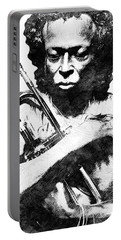 Miles Davis Bw  Portable Battery Charger by Mihaela Pater