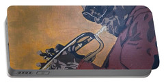Portable Battery Charger featuring the painting Miles Davis by Rachel Natalie Rawlins