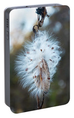 Portable Battery Charger featuring the digital art Milkweed And Its Seeds by Chris Flees