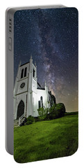 Portable Battery Charger featuring the photograph Milky Way Over Church by Lori Coleman