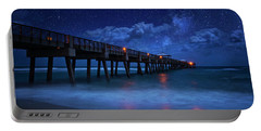 Milky Way Over Juno Beach Pier Under Moonlight Portable Battery Charger