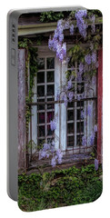 Portable Battery Charger featuring the photograph Mill Window Framed By Wisteria  by Kristia Adams