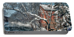Mill House In Winter Portable Battery Charger