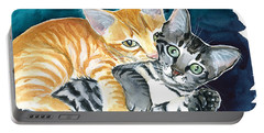 Milo And Tigger - Cute Kitty Painting Portable Battery Charger