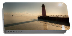 Milwaukee Frozen Lighhtouse Portable Battery Charger by James Meyer