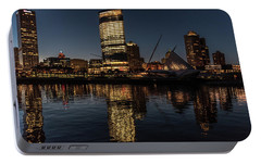Portable Battery Charger featuring the photograph Milwaukee Reflections by Randy Scherkenbach
