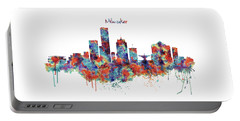 Portable Battery Charger featuring the mixed media Milwaukee Watercolor Skyline by Marian Voicu